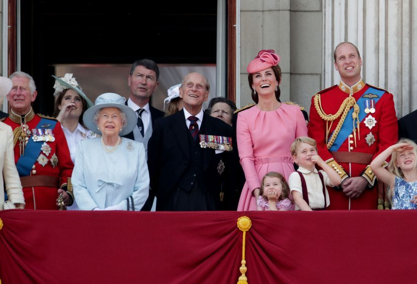 (left to right) the Prince of Wales, Princess Eugenie, Queen Elizabeth II, the Duke of Edinburgh, the Duchess of Cambridge, Princess Charlotte, Prince George and the Duke of Cambridge on the balcony of Buckingham Palace, in central London, following the Trooping the Colour ceremony at Horse Guards Parade. June 2017.