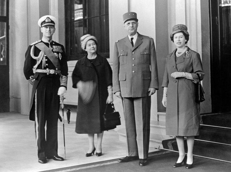 Queen Elizabeth II, President Charles de Gaulle of France, the Duke of Edinburgh and Madame de Gaulle at Buckingham Palace. April 1960.
