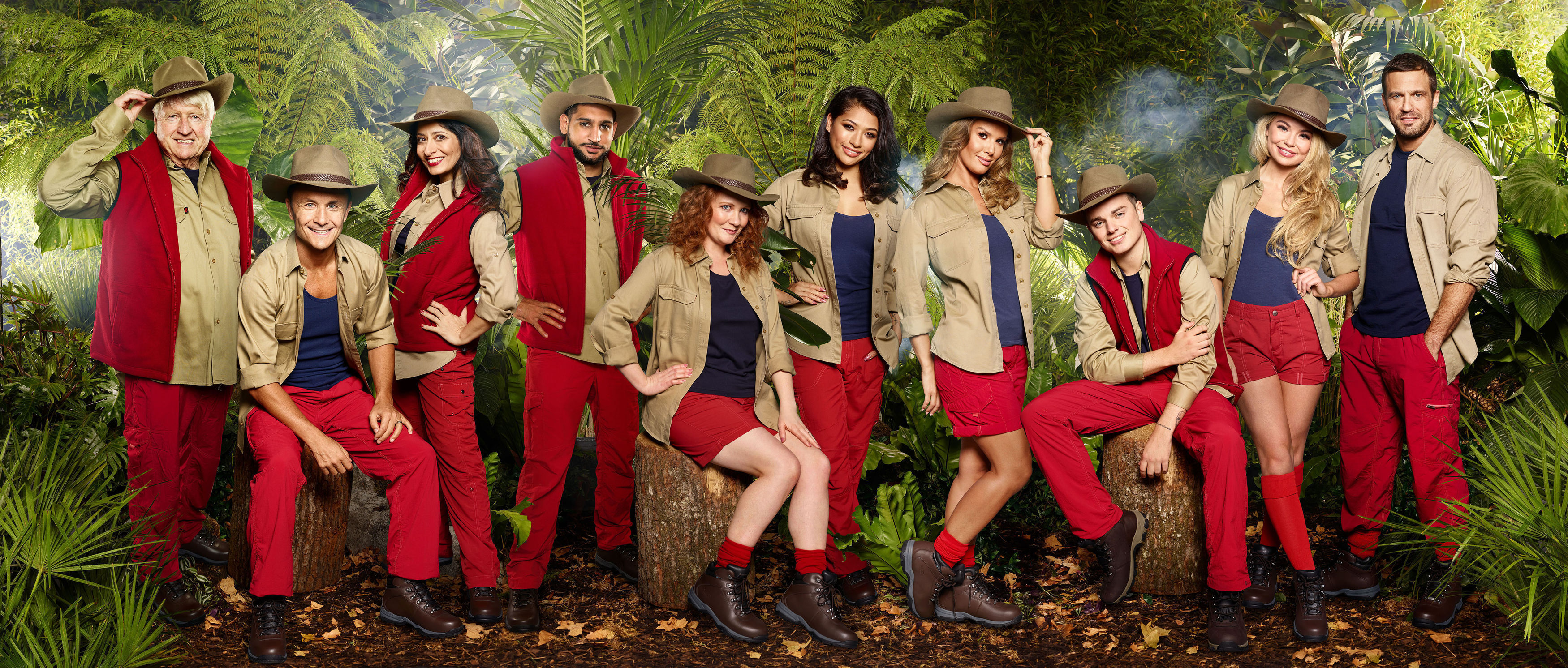 (left-right) Stanley Johnson, Dennis Wise, Shappi Khorsandi, Amir Khan, Jennie McAlpine, Vanessa White, Rebekah Vardy, Jack Maynard, Georgia Toffolo and Jamie Lomas who have been revealed as the contestants for I'm A Celebrity ... Get Me Out Of Here! 2017.