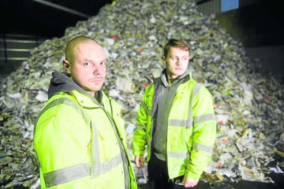 Munros Evanton Transfer Station. Staff members Kamil Rupik (left) and Gracjan Dabrowski. Picture by Sandy McCook.