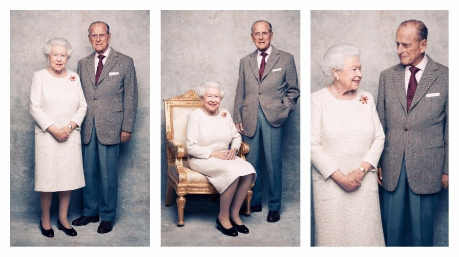 Queen Elizabeth II and the Duke of Edinburgh by British photographer Matt Holyoak, taken in the White Drawing Room at Windsor Castle in early November, pictured against a platinum-textured backdrop, in celebration of their platinum wedding anniversary on November 20. CREDIT: Matt Holyoak/CameraPress/PA Wire