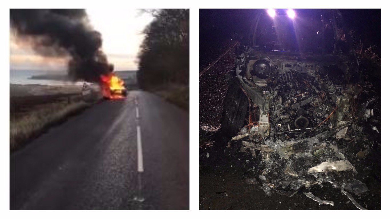 The car ablaze, and right, what was left of the vehicle