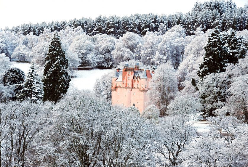 A fairytale scene at Craigievar Castle in Aberdeenshire, following a sprinkling of snow overnight.