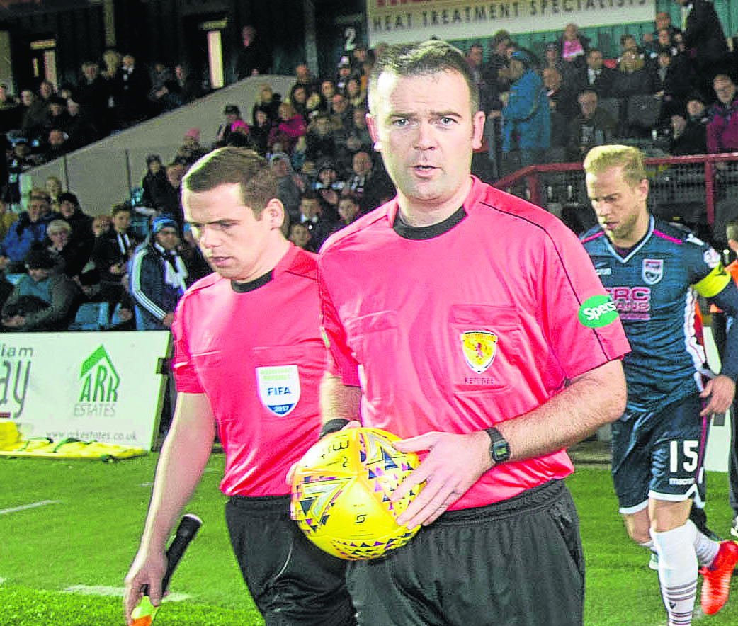Referee Ben Dempster (centre) with Douglas Ross (left)