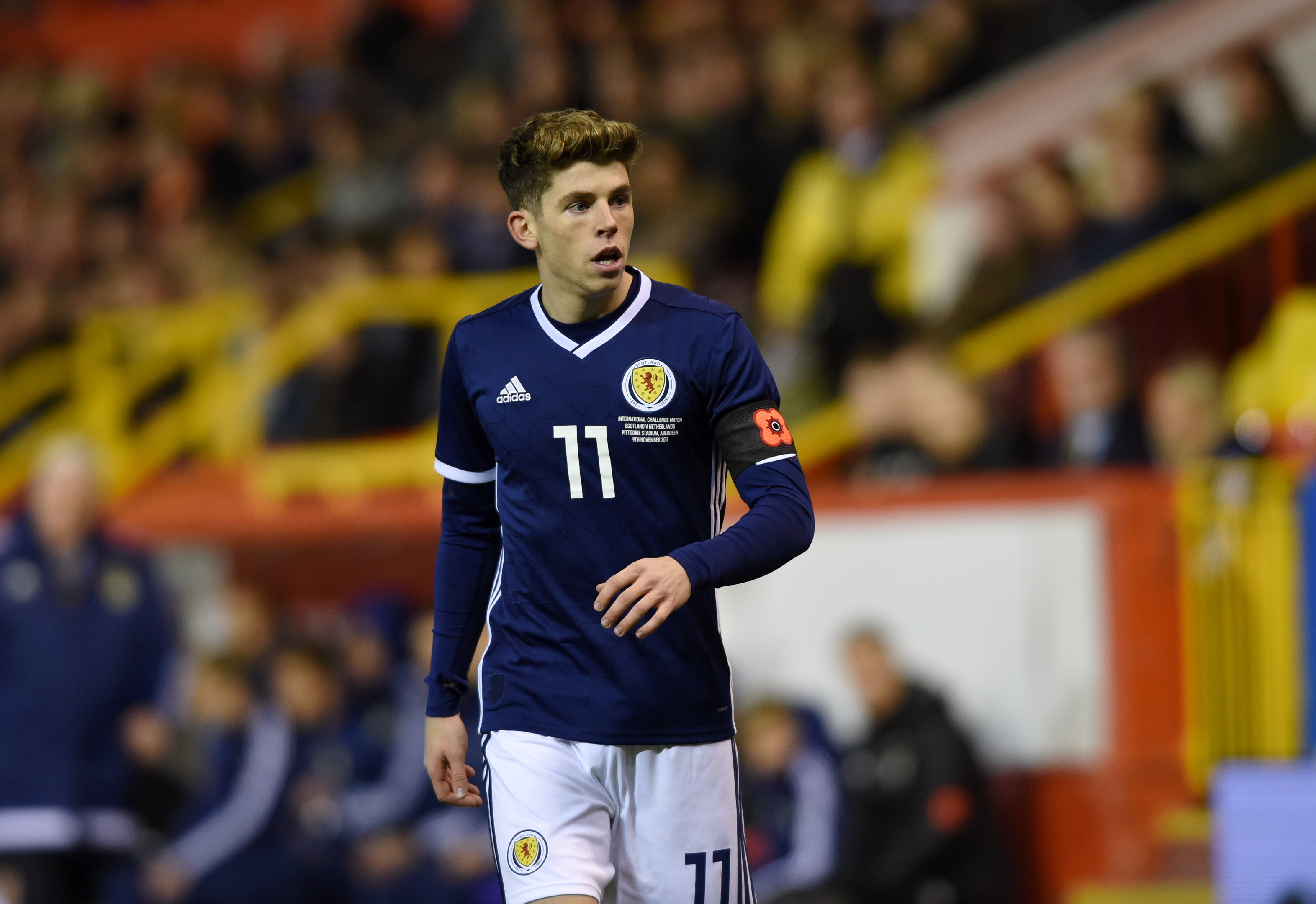 Ryan Christie made his debut for Scotland at Pittodrie in November.