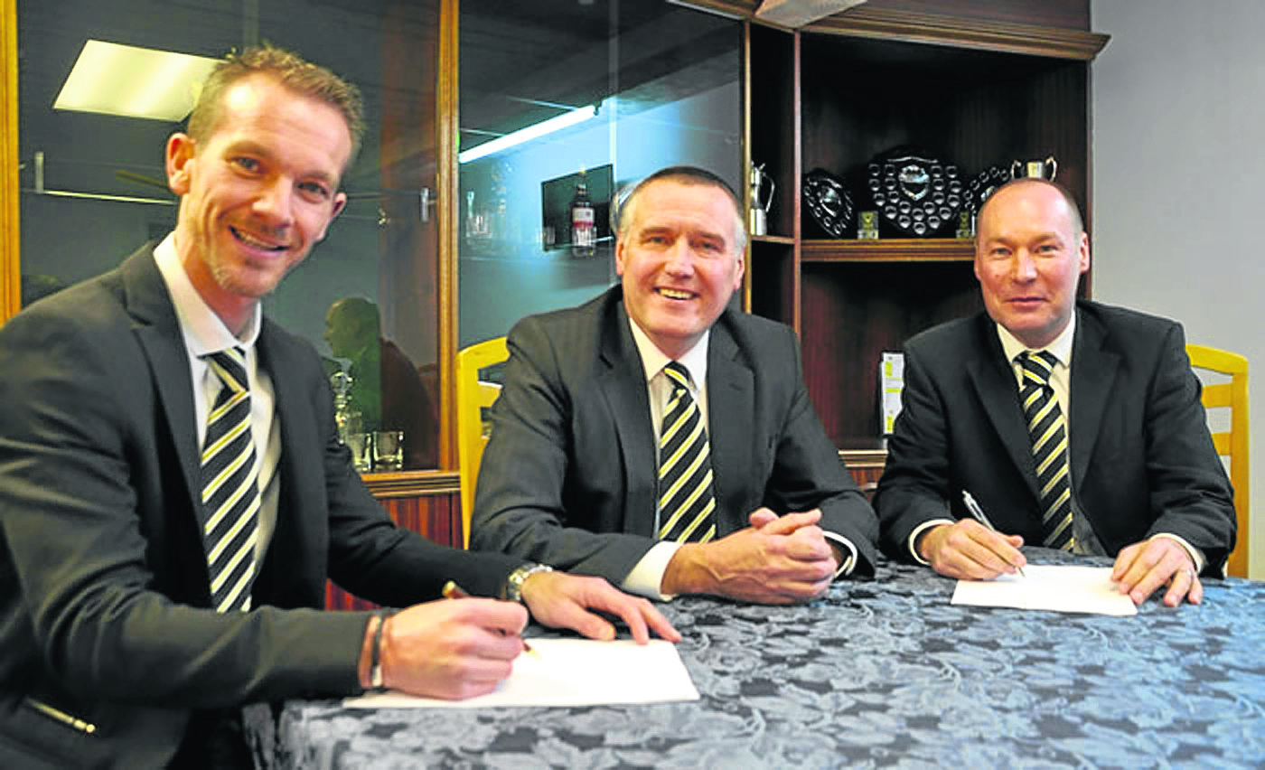 Huntly chairman George Clark, centre, with previous co-managers Andy Roddie and Tommy Wilson.