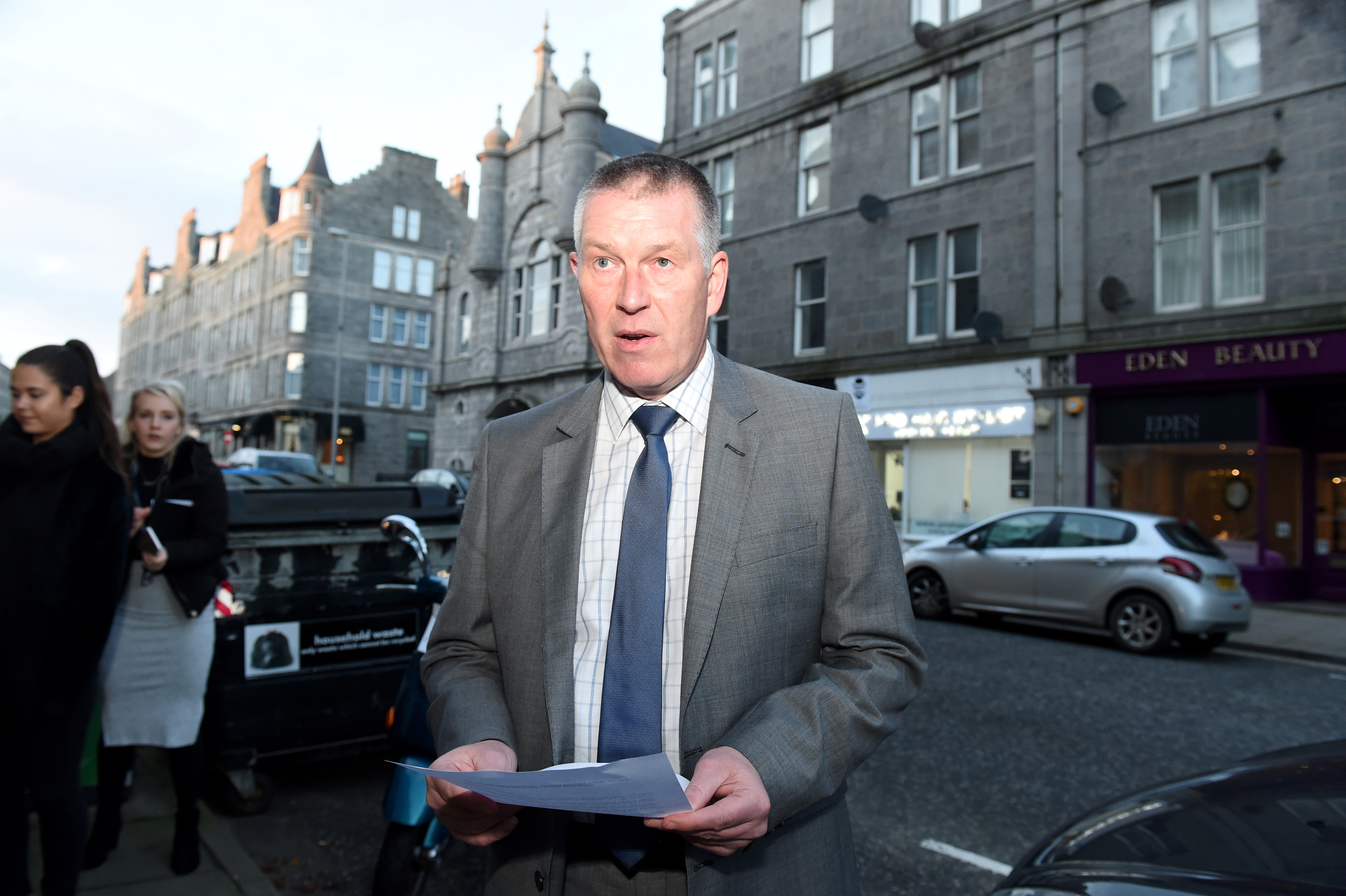 Chief Inspector Iain Smith holds a press call on Rosemount Viaduct, Aberdeen.  Picture by Jim Irvine
