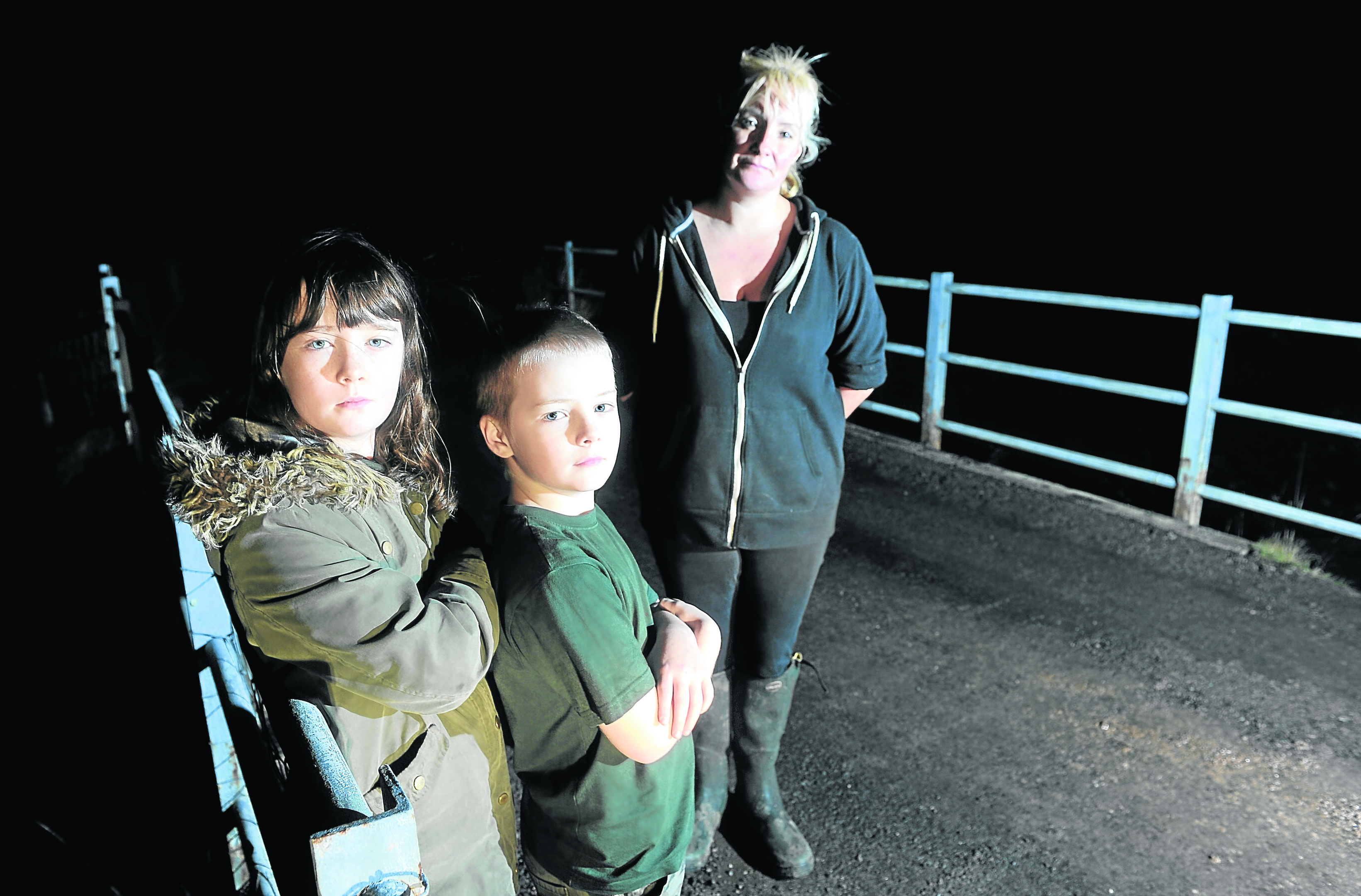 Jacqui McKinnon of Strathconon with her two children, Dreyden (9) and Deesha (10). Picture by Sandy McCook