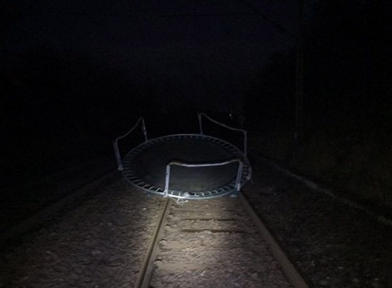 The trampoline which caused train services to be disrupted