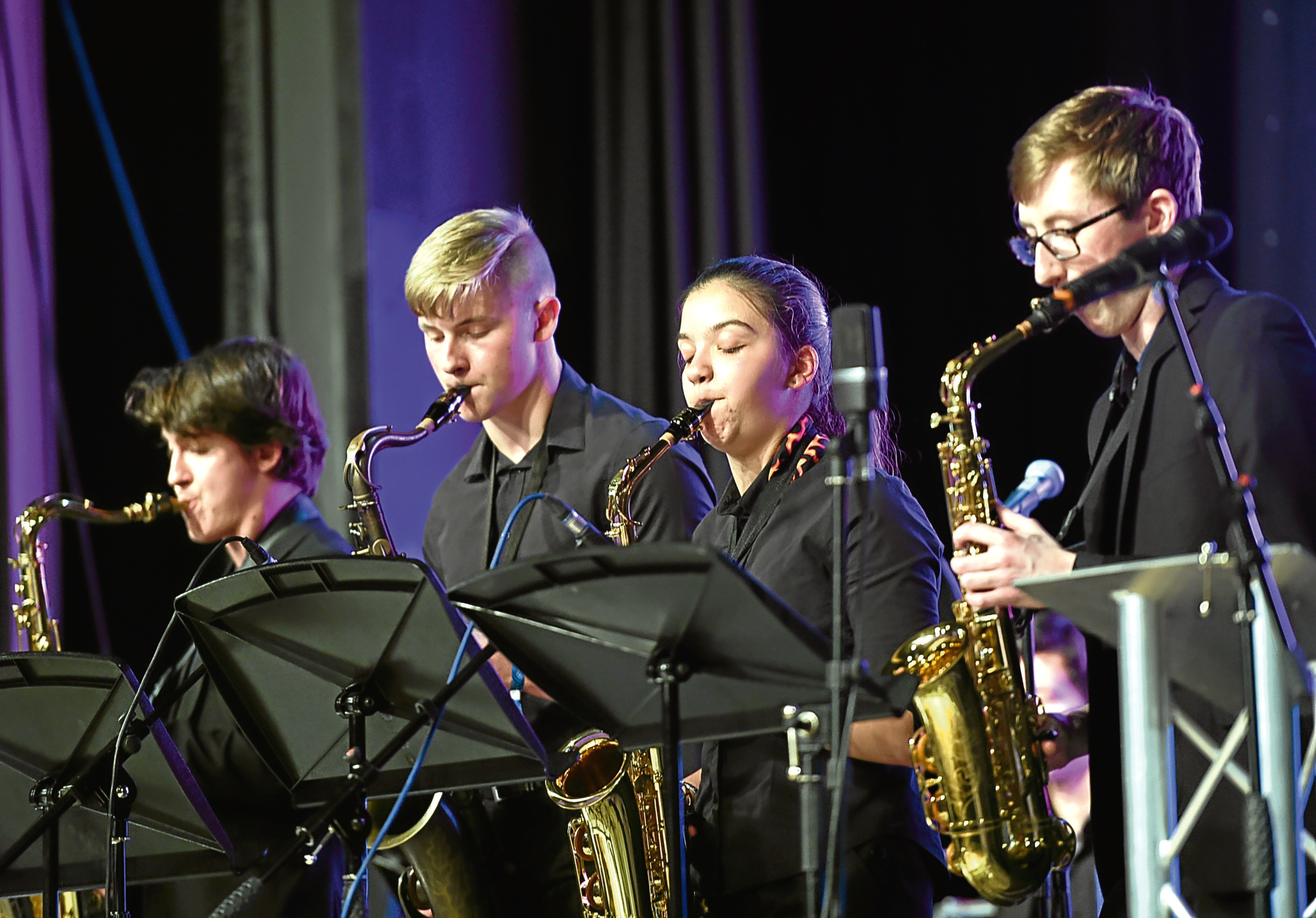 The Aberdeen Youth Jazz Band at the opening ceremony of the Aberdeen International Youth Festival (AIYF) 2017 at the Beach Ballroom, Aberdeen.