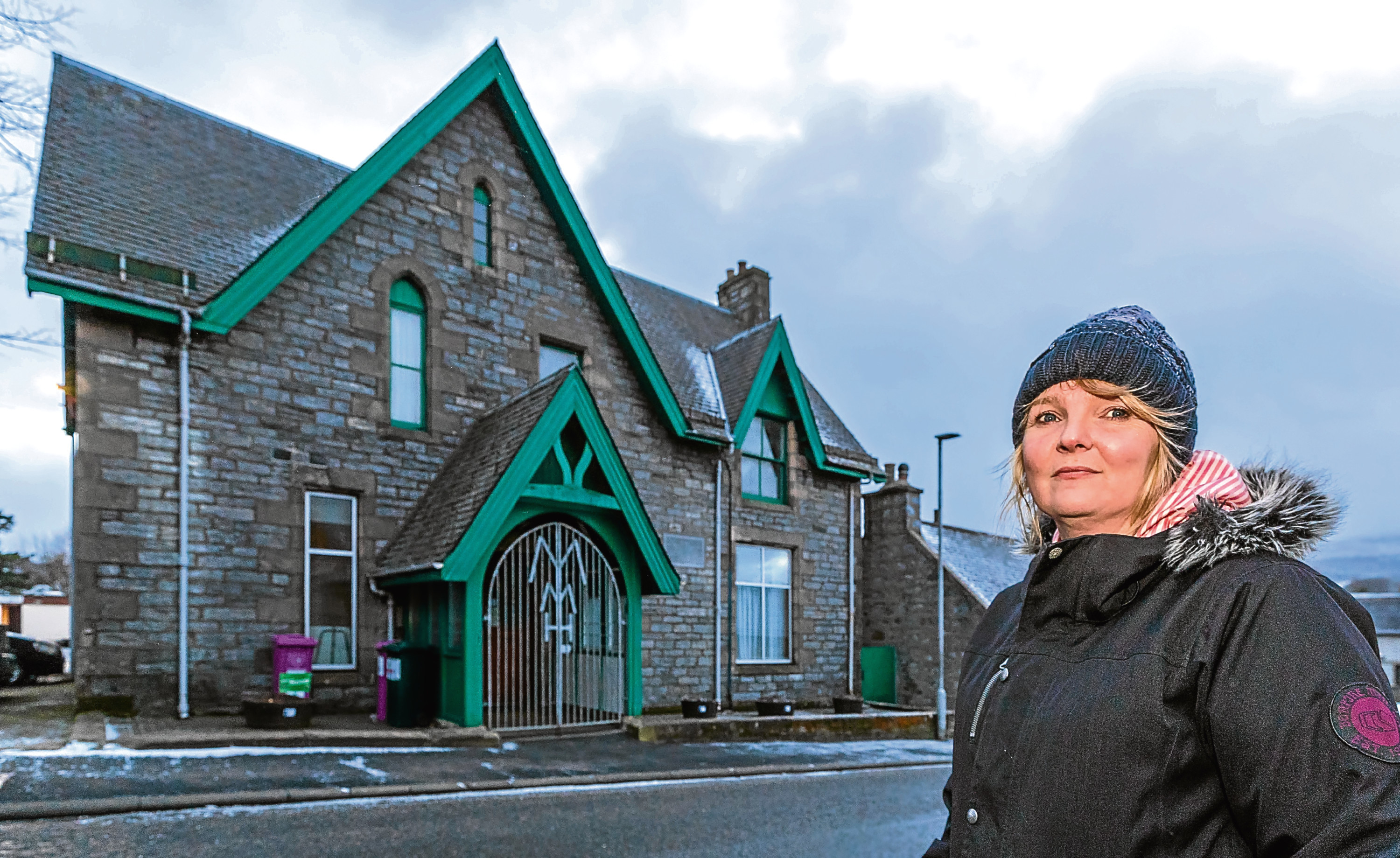 Councillor Louise Laing outside the Mortlach Memorial Hall, Dufftown