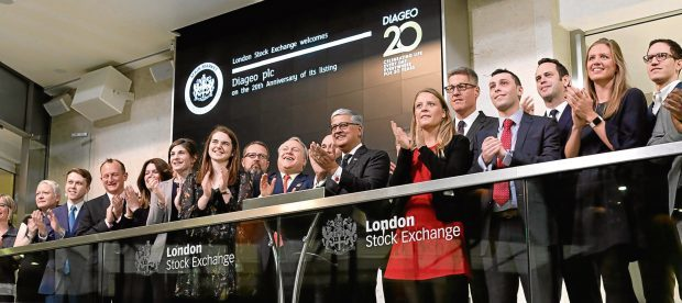 Diageo chief executive Ivan Menezes opens  the market at the London Stock Exchange