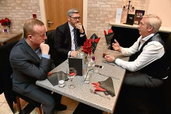 Business Lunch with Adrian Watson, David Gibson, Andrew Burnett at Rox Grill Room in Rox Hotel. Picture of (L-R) Adrian Watson, David Gibson, Andrew Burnett.  Picture by KENNY ELRICK     07/12/2017