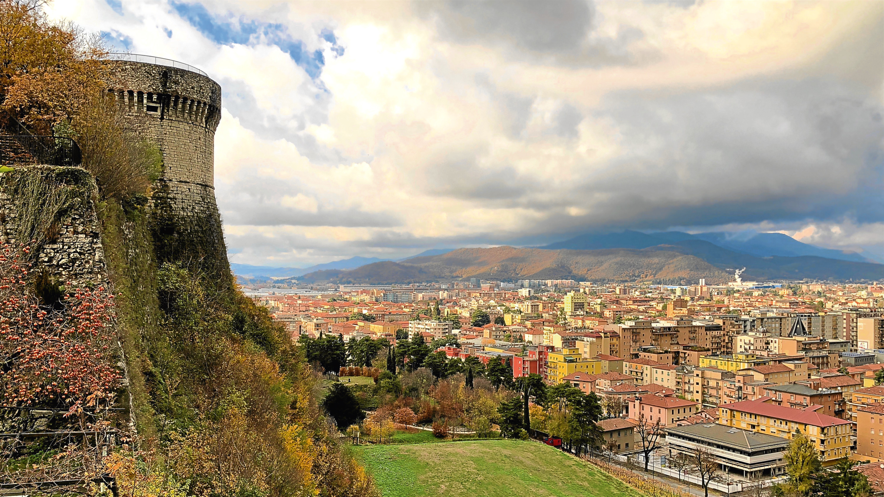 Brescia's hilltop castle overlooks the city and distant hills. Copyright Amy Laughinghouse.