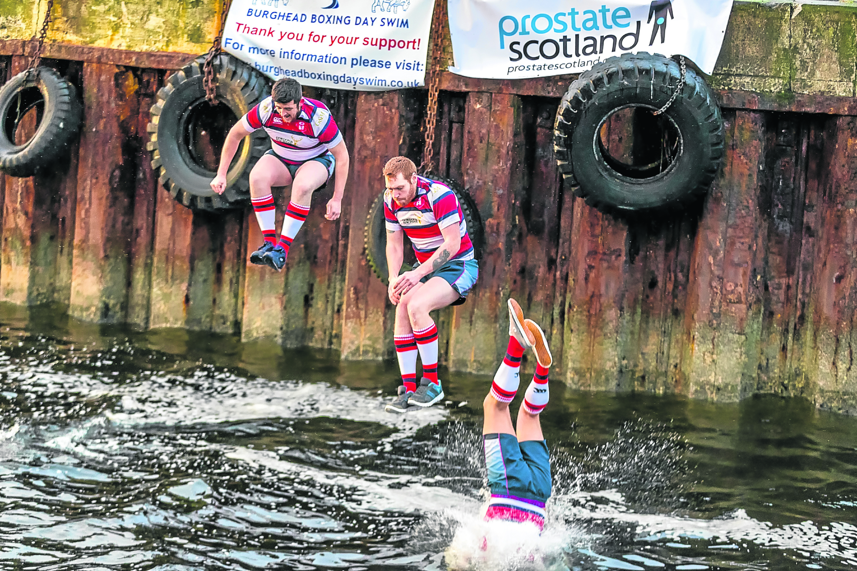 Lee Adams, Ross Joy and Stu Middleton of Moray Rugby Club take the plunge