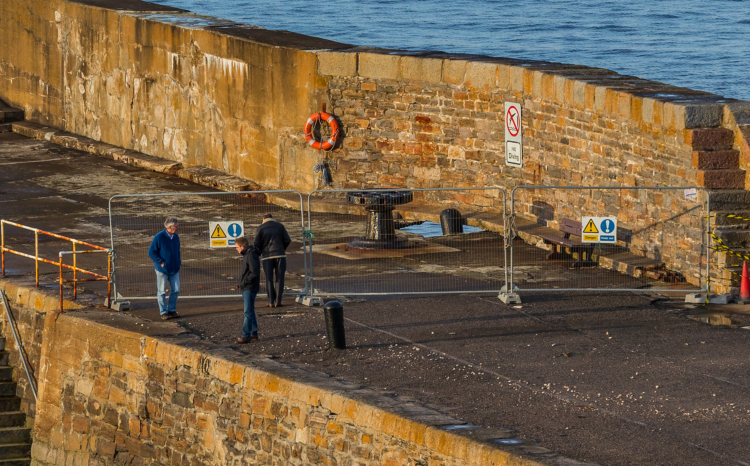 The north pier at Cullen Harbour has been sealed off after part of it collapsed into the sea.