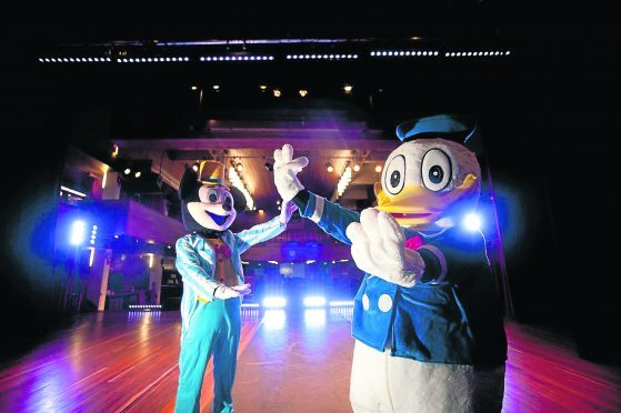 In photo: Lewis Cowie as Mucky Mouse and as Donald duck Lucy Tindall.