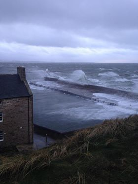 Burghead at high tide. Pic by Donald Campbell