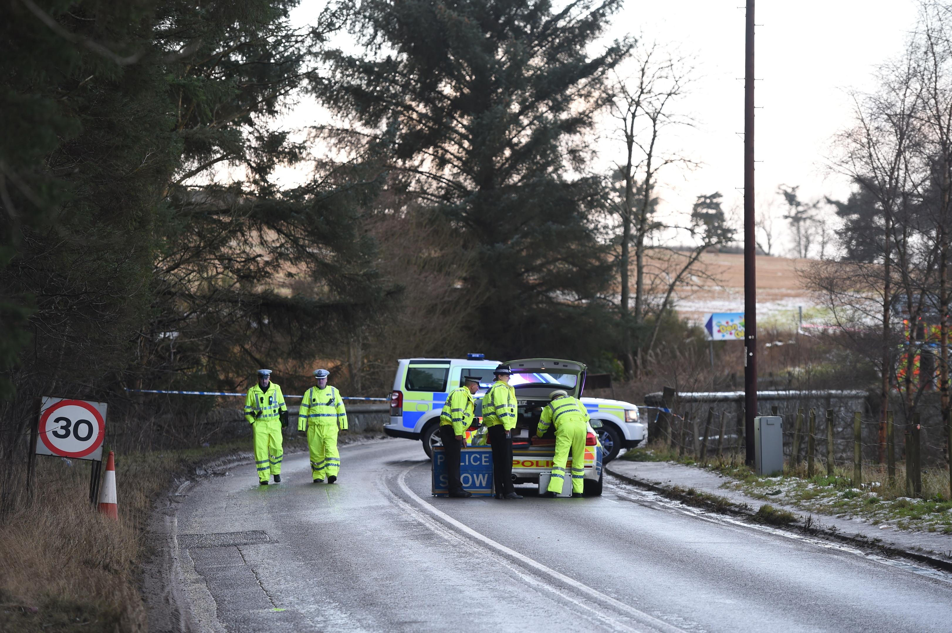 Emergency services near the scene yesterday morning