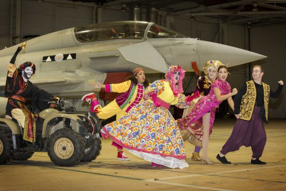 Stars from the British Forces Foundation's panto bus appeared at RAF Lossiemouth.