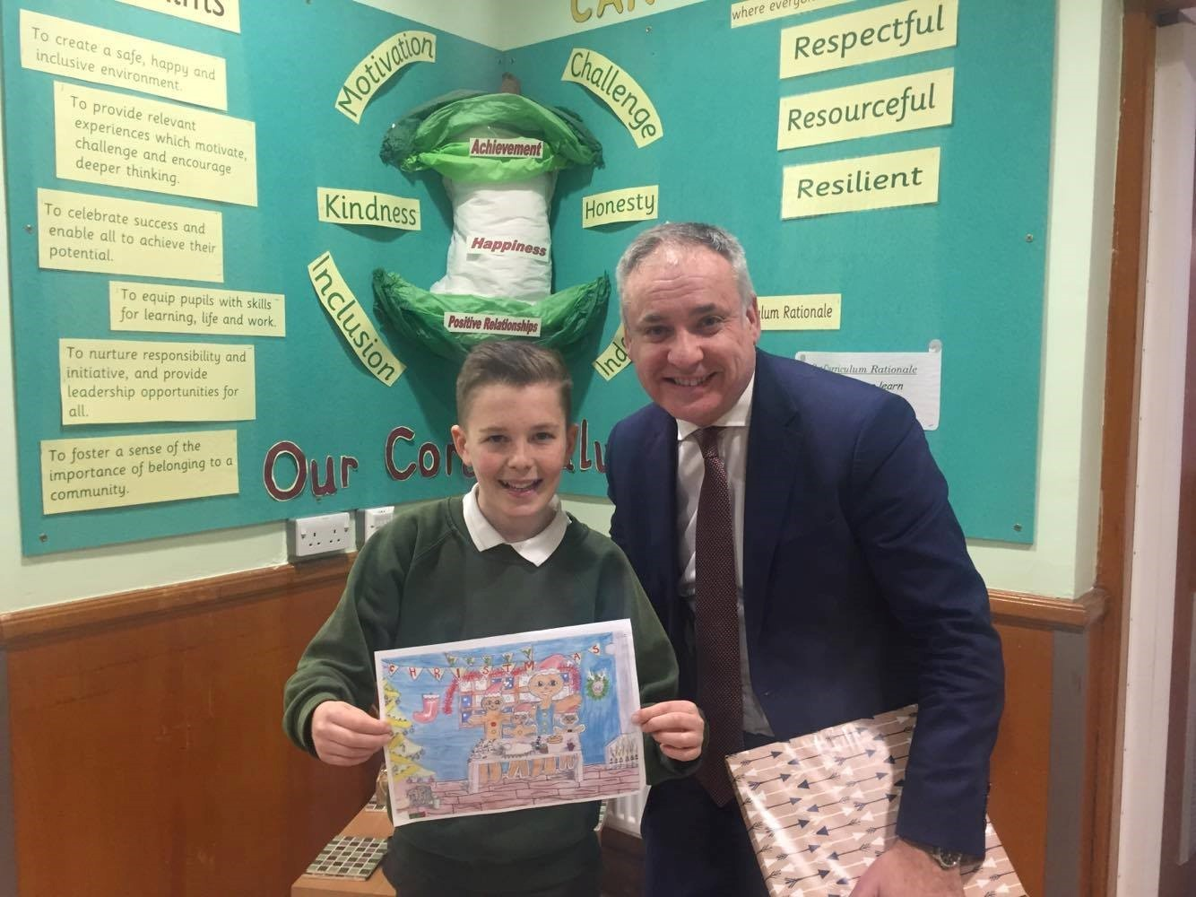 Lewis Mackenzie and Richard Lochhead at Applegrove Primary School.