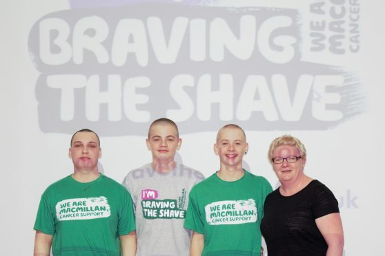 James Poyner, Thomas Hopkins, Oliver Hopkins had their heads shaved by hairdresser Hayley Johnston.