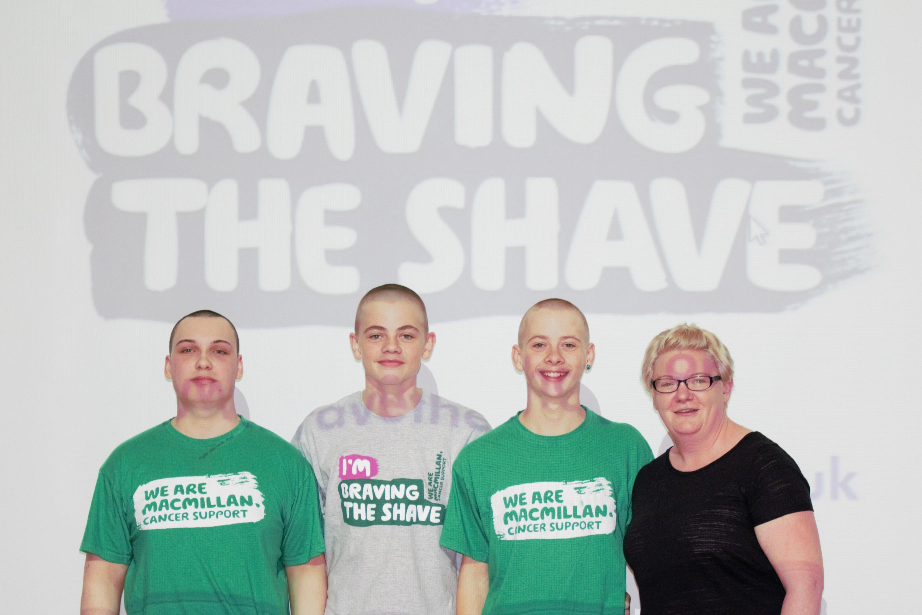 James Poyner, Thomas Hopkins, Oliver Hopkins had their heads shaved by hairdresser Hayley Johnston.