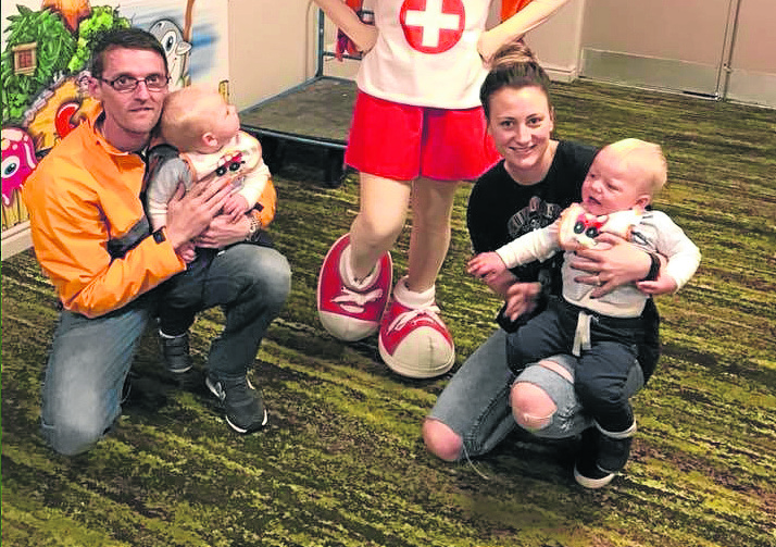 Steven and Elaine Watt with their twins Miller and Mayson.
