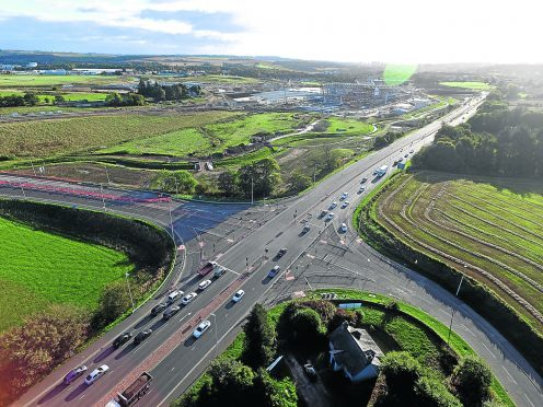 Locator the A96 Inverurie Road junction of Dyce Drive.  Drone image by Kenny Elrick