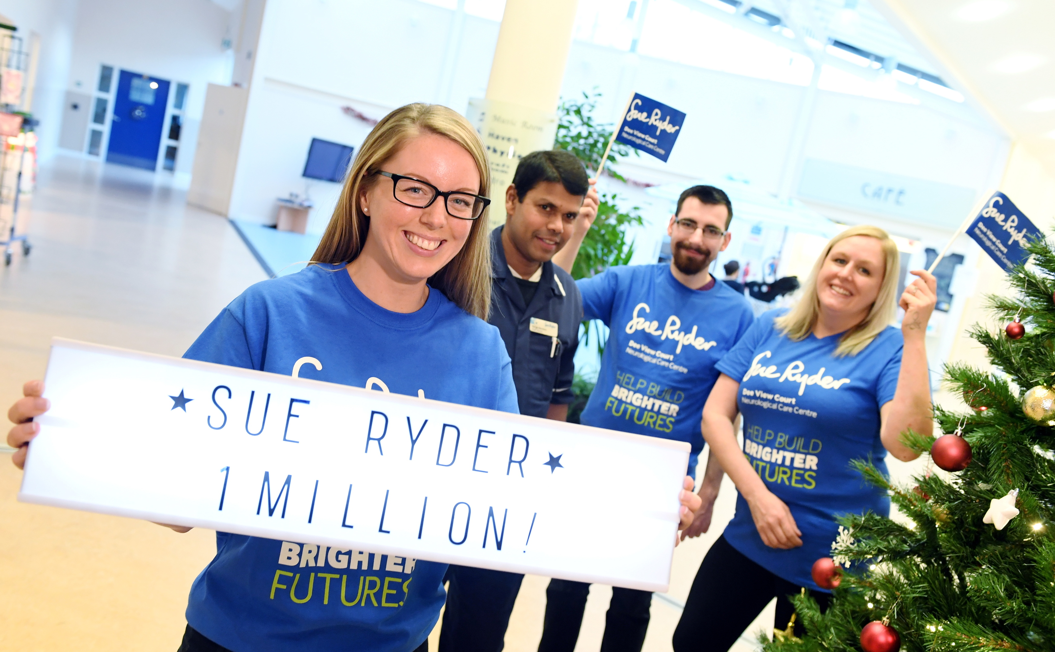 Sue Ryder have reached the £1 million mark in their Dee View Court appeal.    Pictured - L-R Capital Appeal Manager Lisa Glenday, Staff Nurse Range Bandara, Domestic Asst Matt Bakrowski and Activities Supervisor Michelle Allison. Picture by Kami Thomson
