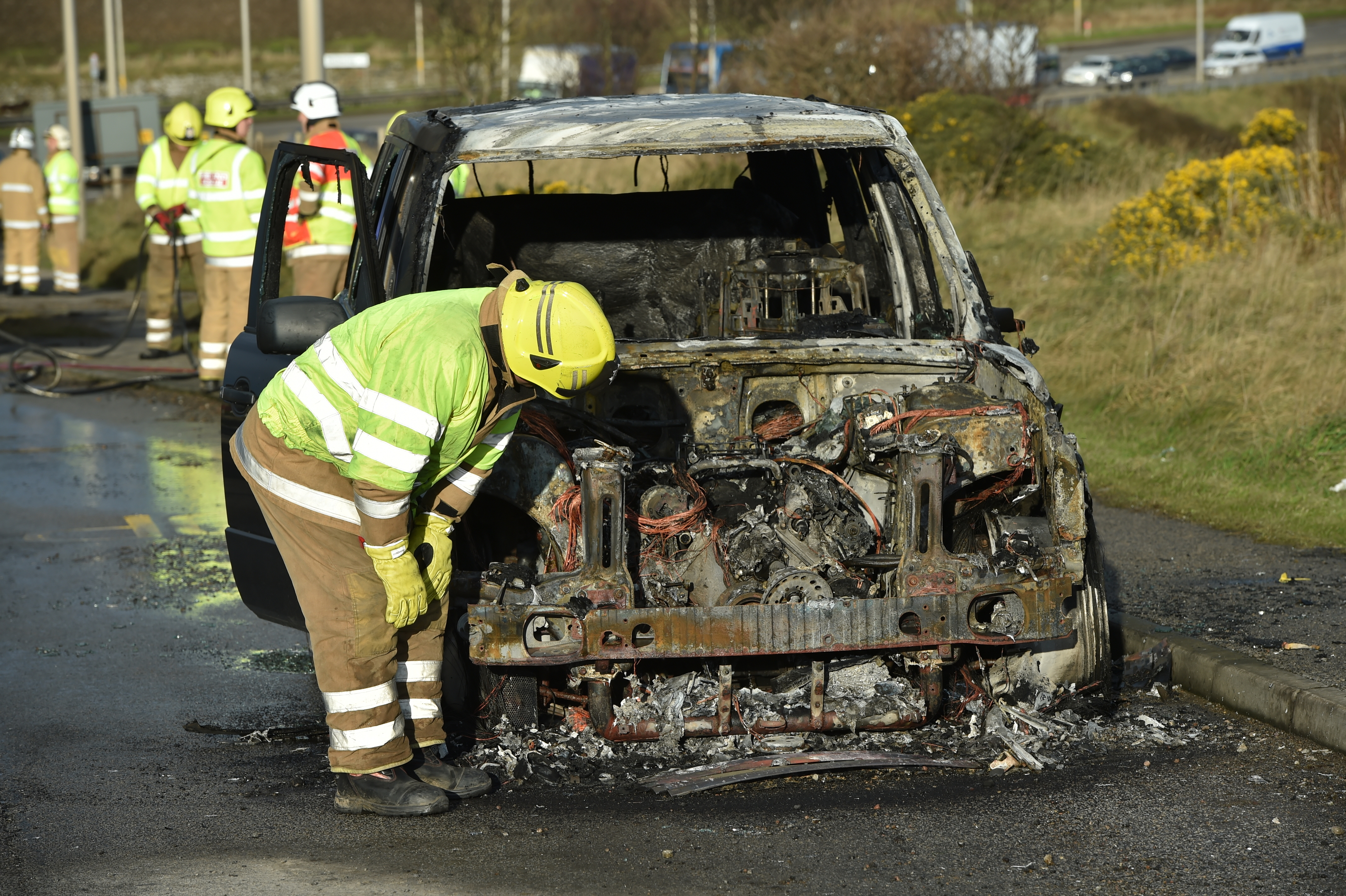 The scene on the A90