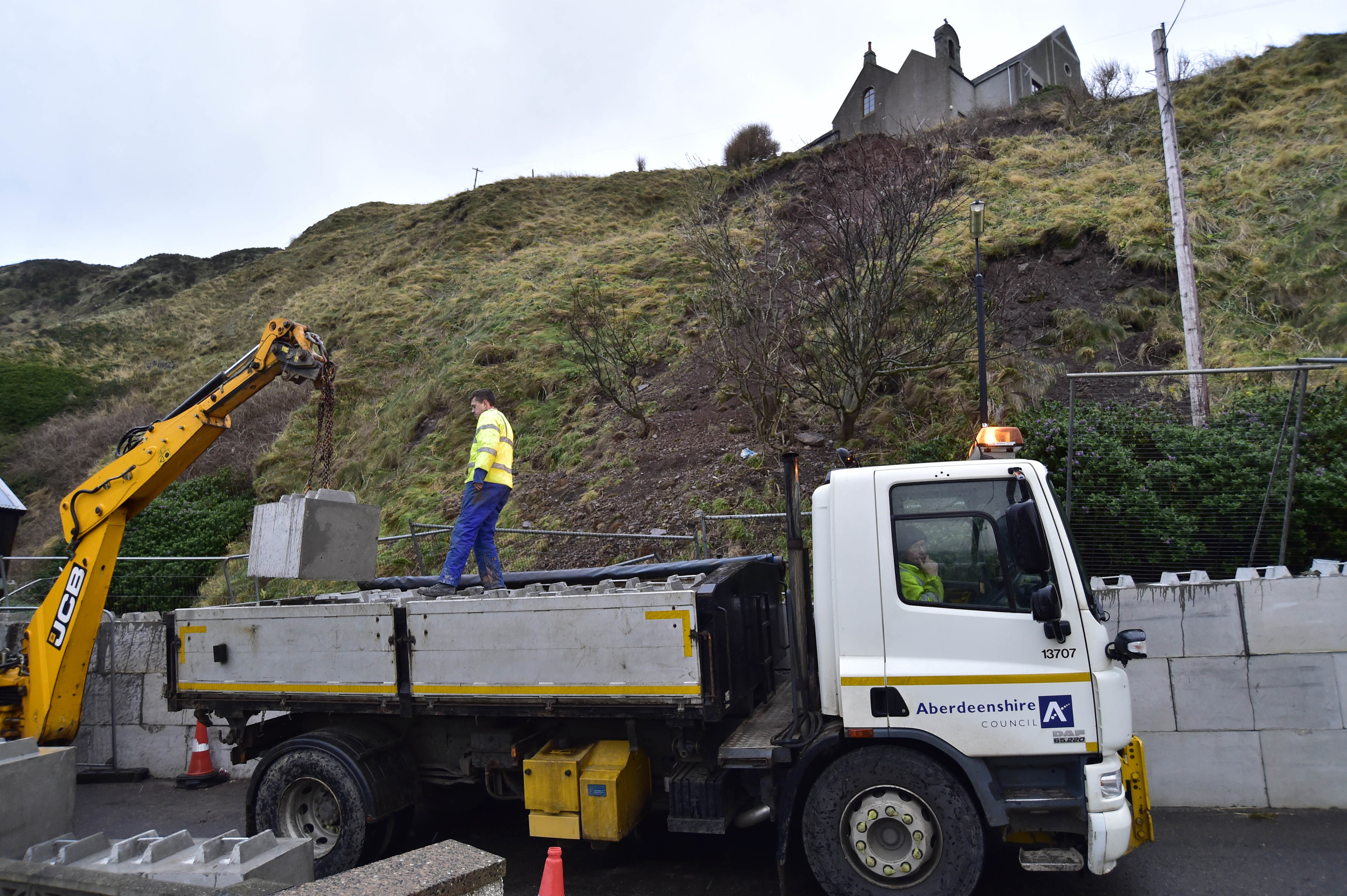 Efforts were underway to bolster the roadside yesterday.