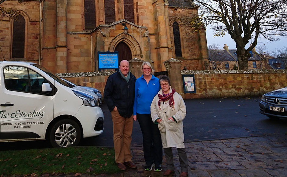 Stephen and Jayne Pagan with the Rev Susan Brown outside Dornoch Cathedral