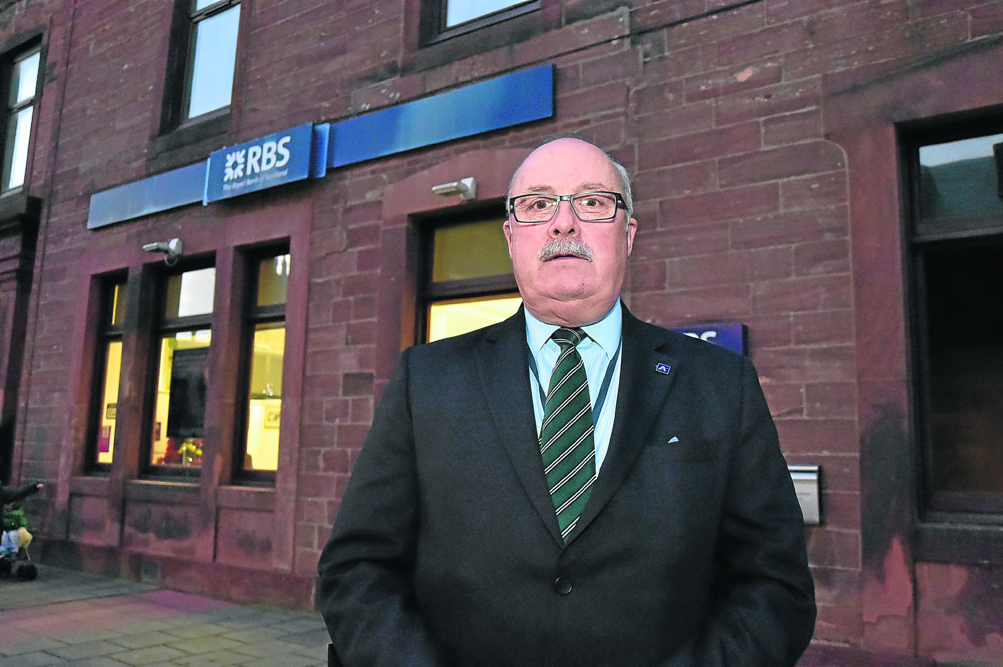 Alistair Forsyth outside the earmarked RBS branch in Turriff.