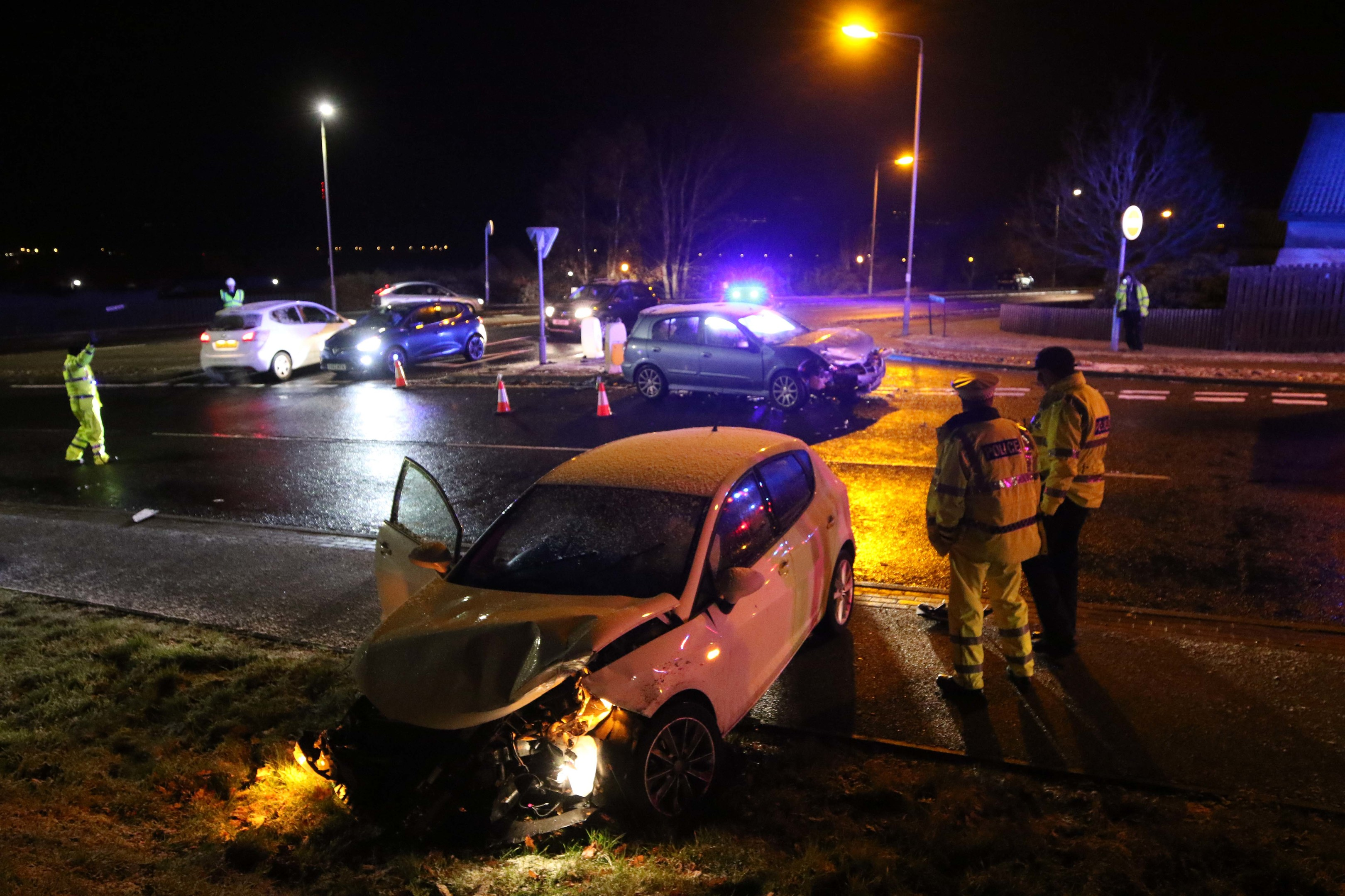 7 December 2017: Scene of a 2-car RTC on Culloden Road at its junction with Tower Road. Two males and a female were travelling in the blue Nissan Almera. Two females were travelling in the white Seat Ibiza. Picture: Andrew Smith