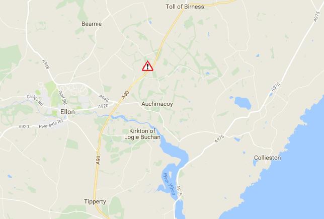Traffic Scotland's map highlighting where the lorry skidded on black ice.