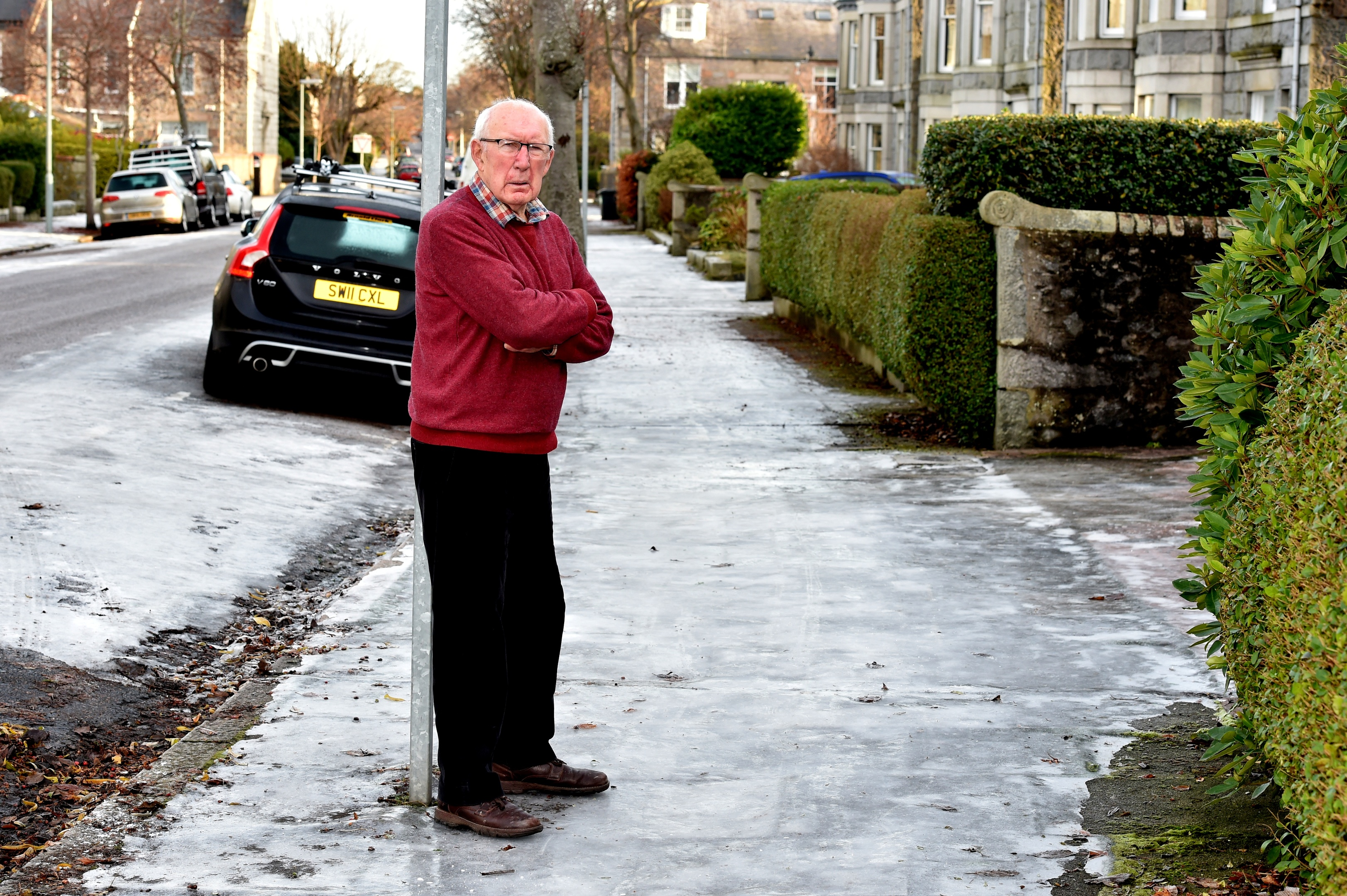 George Lawrence at his home in Hamilton Place has decided to withhold his council tax for January in protest of the conditions of the roads. Picture by Colin Rennie.
