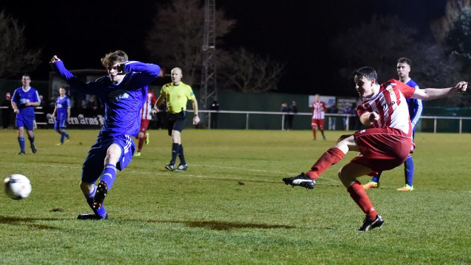 Stuart Smith shoots at goal.