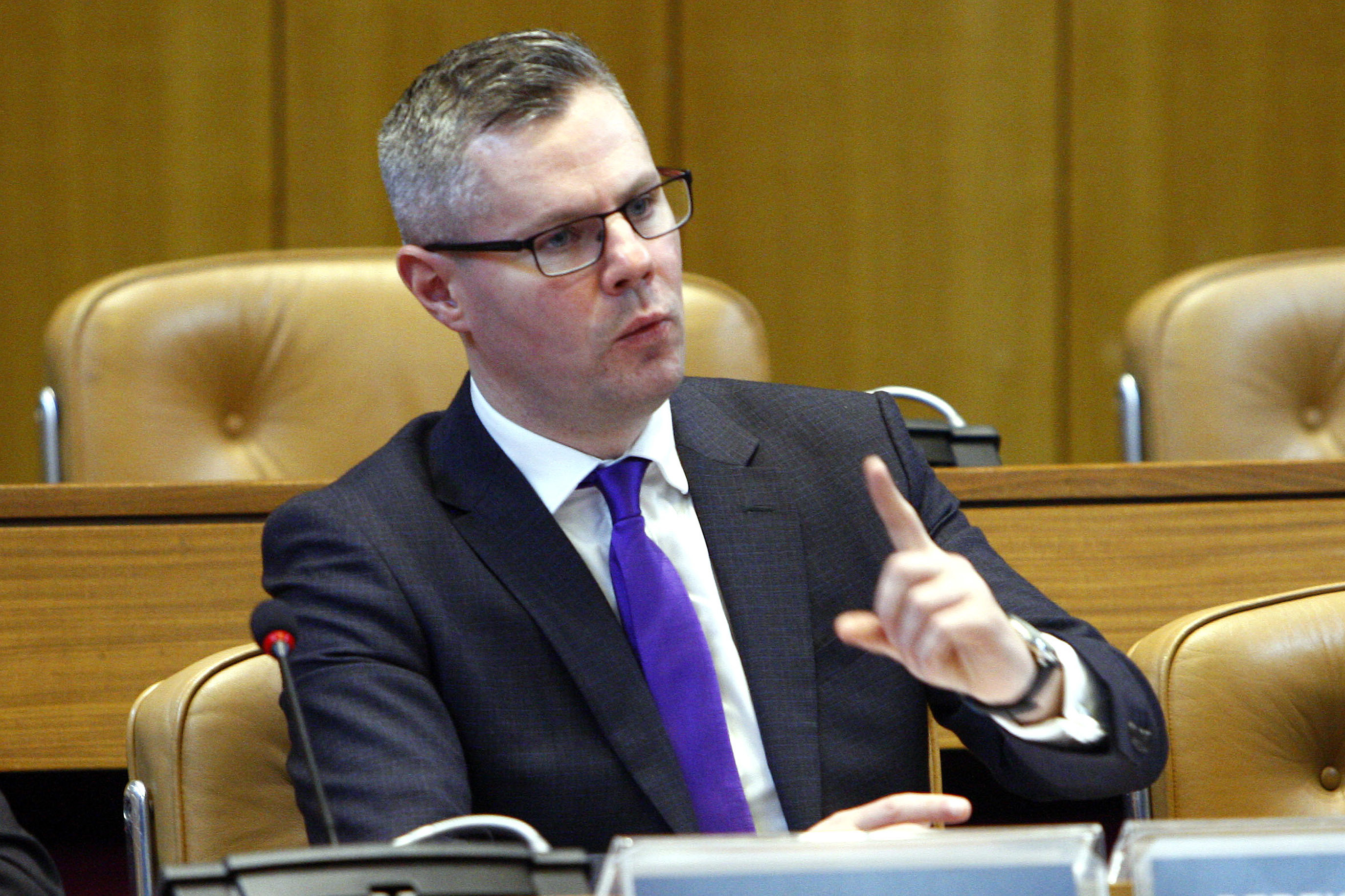 Derek MacKay MSP  (Pictured) at Aberdeen Council Chambers in Aberdeen Town House