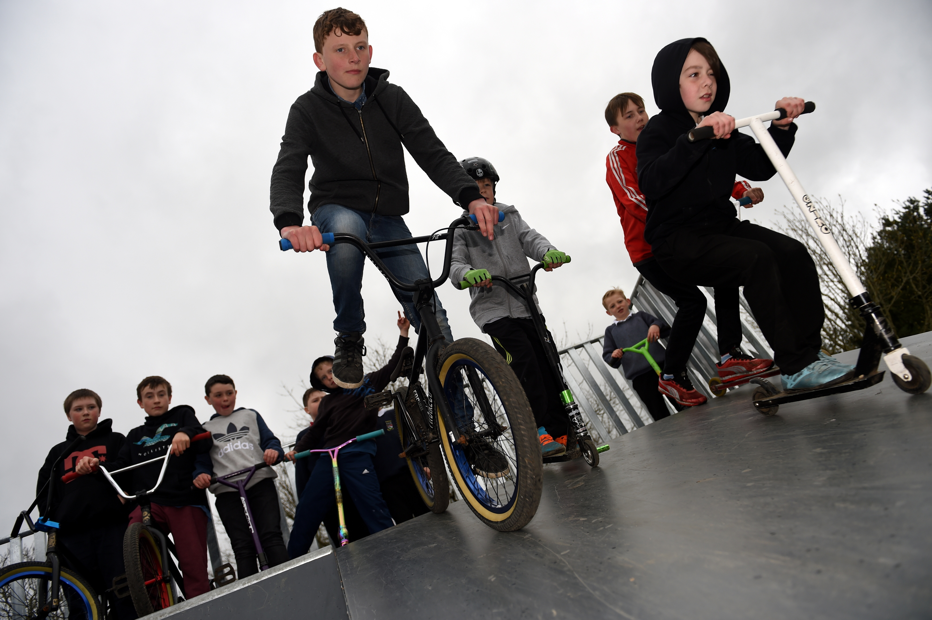 Skateboarding at Cuthil Park, Keith. L-R: Glen Wright, Dylan Ralph, Harley Farquharson, and Connor Dalgarno trying out the new ramps.