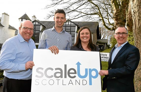 Entrepreneurial Scotland launching it's new Scale Up Scotland programme. In the picture at Gordon Highlanders museum are from left: Bob Keiller, James McIllroy, Marie Clare Tully and Sandy Kennedy.  Picture by Jim Irvine  18-1-18