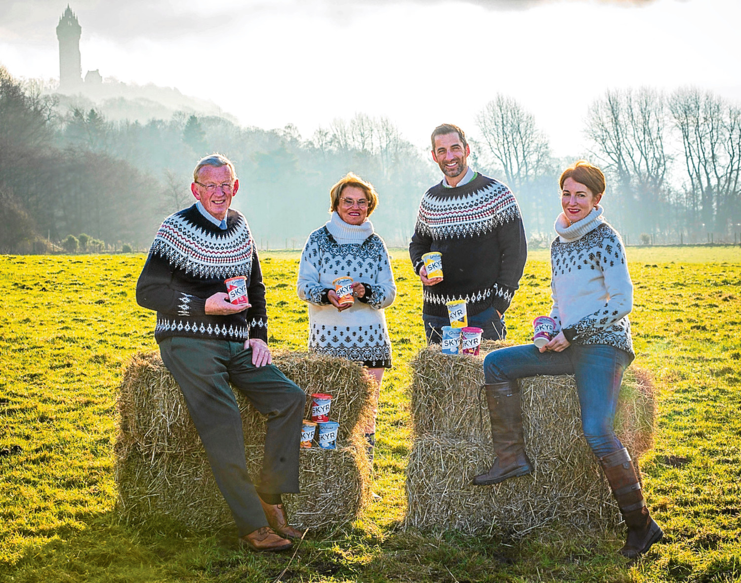 Robert Graham, his wife Jean, son Robert and daughter Carol launch Graham's The Family Dairy new Skyr product in style - with cosy Icelandic jumpers