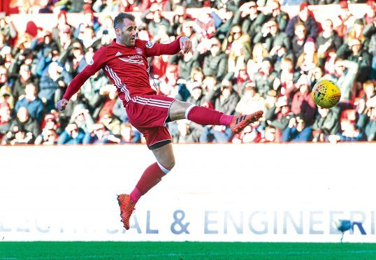 Niall McGinn hit the woodwork at the end of the first half for Aberdeen.