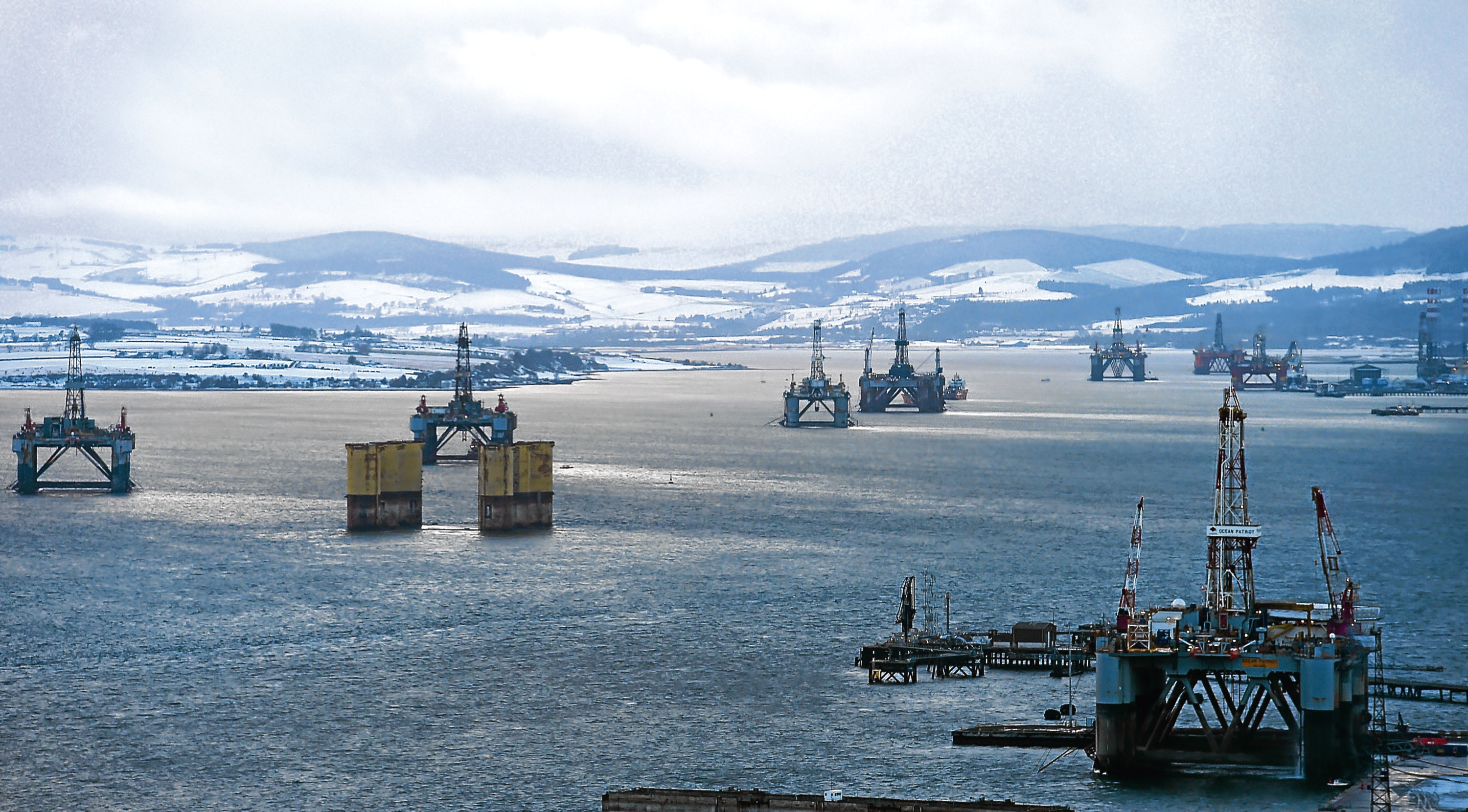 The oil rig twins, Ocean Princess (left) and Ocean Nomad (second left) in the Cromarty Firth.