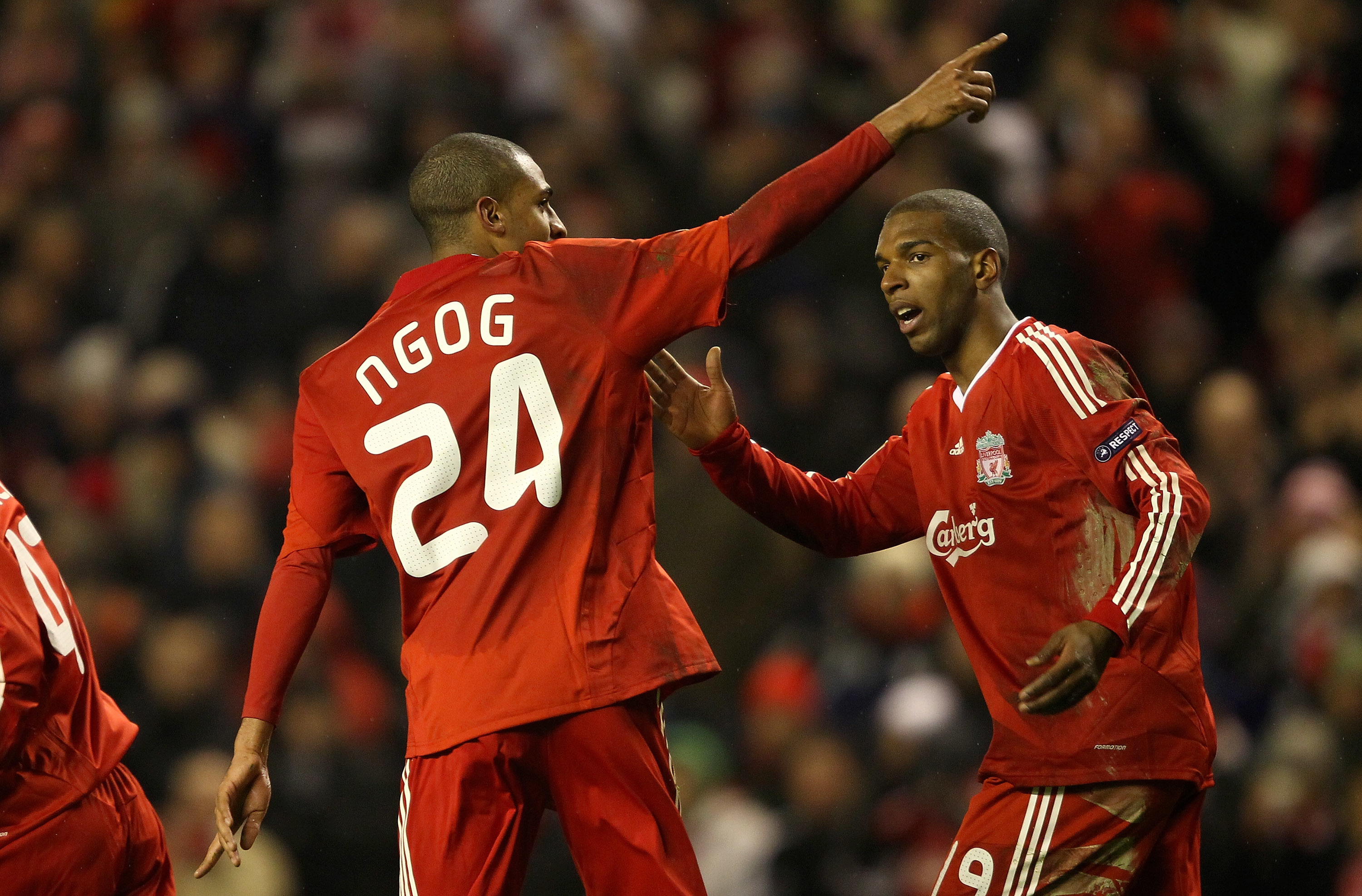 David Ngog celebrates after scoring for Liverpool in 2010. Photo by Clive Brunskill/Getty Images