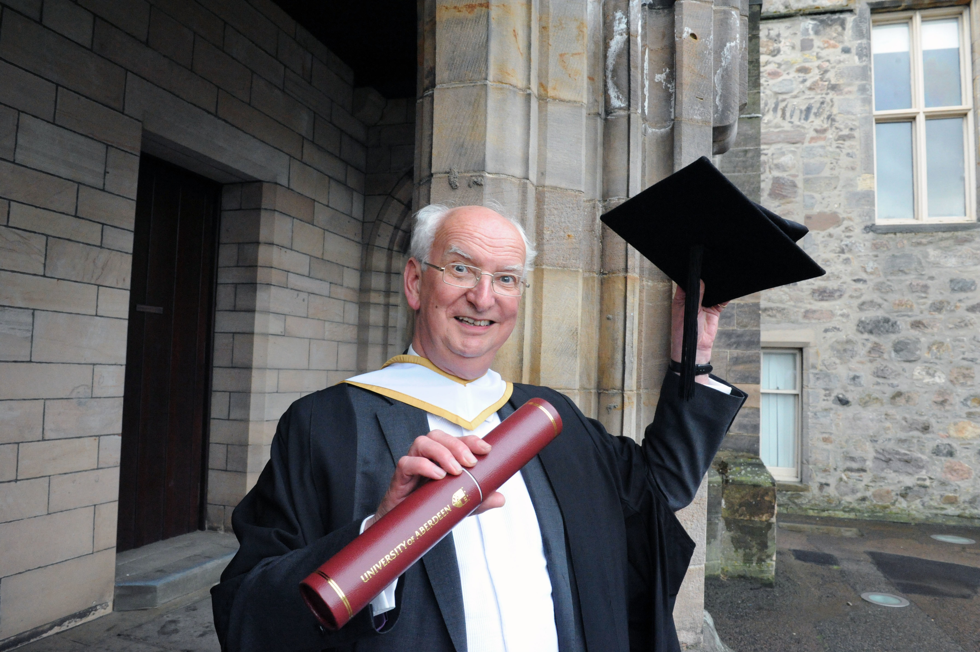 Alistair Macdonald picking up his honorary degree in 2015.