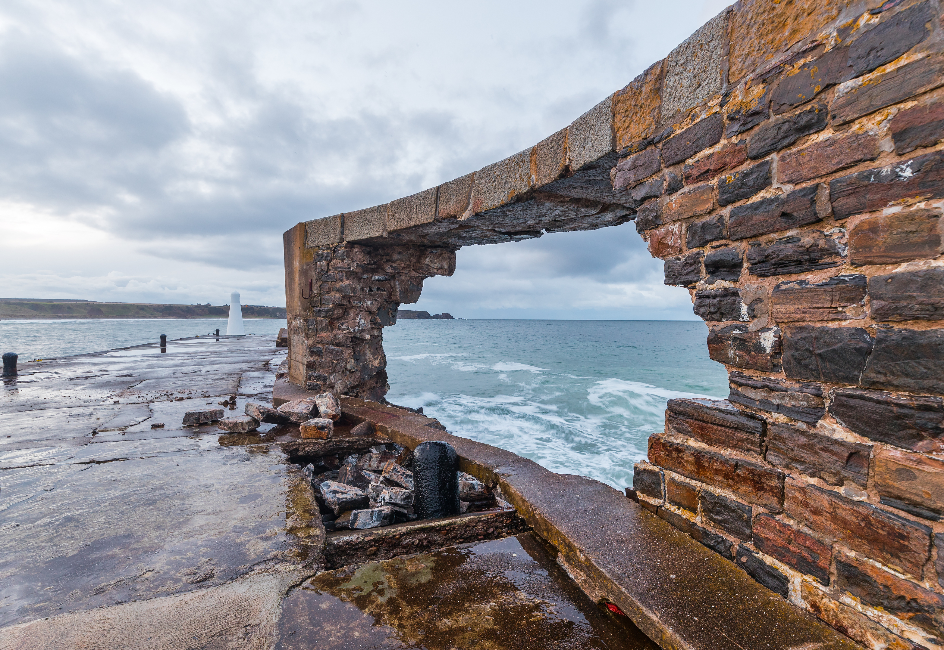 This is the breakwater pier wall of Cullen Harbour which has sustained further substantial damage due to strong waves.