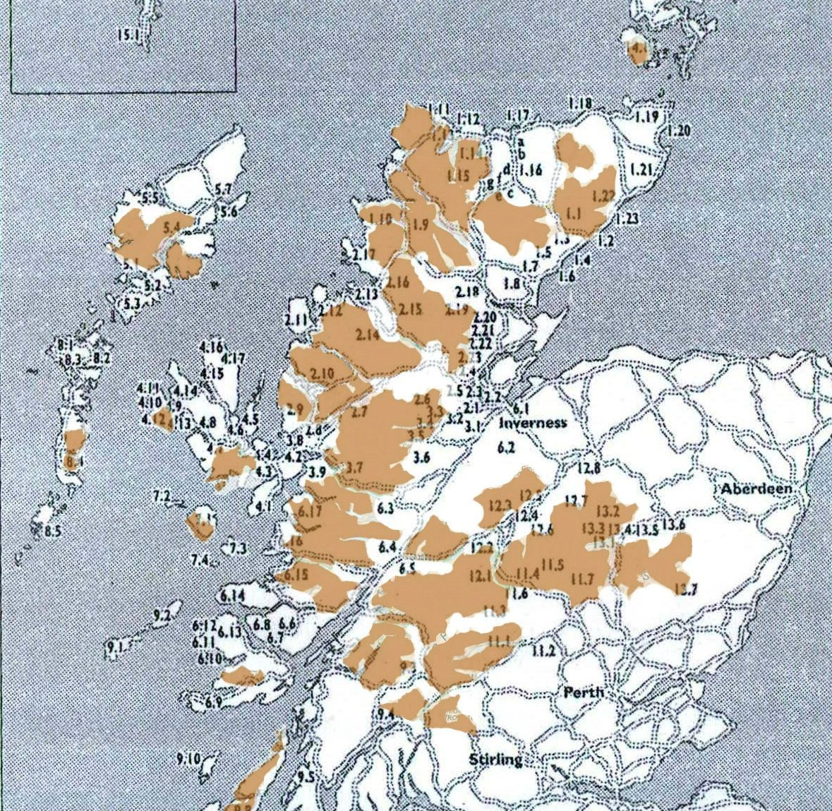 Indicative map of affected communities from Rob Gibson's book The Highland Clearances Trail, published in 2006 by Luath Press.