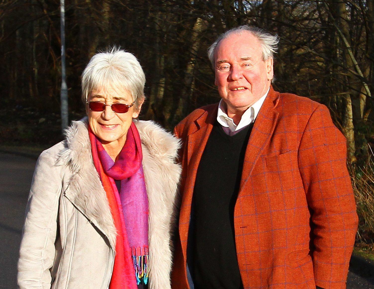Councillors Elaine Robertson and Jamie MacGrigor on Kirk Road Dunbeg