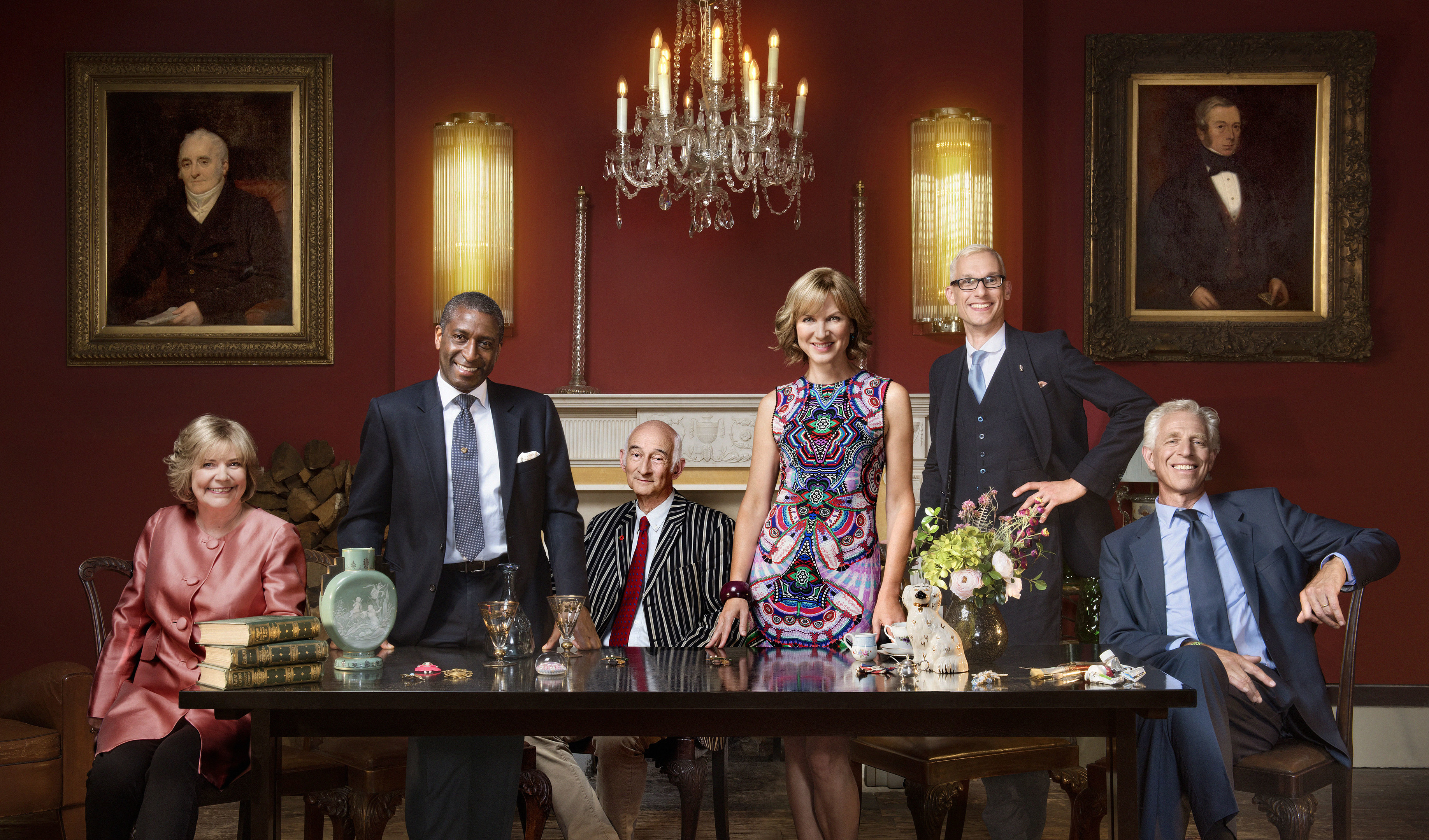 Judith Miller, Lennox Cato, Paul Atterbury, Fiona Bruce, Mark Hill and Rupert Maas from Antiques Roadshow.